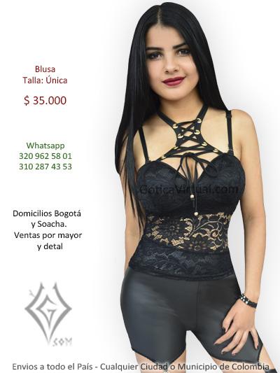 0b95ecd47 blusa negra tienda online blonda ojales cordones sexy economica domicilios  bogota suba fontibon kennedy chapinero moda